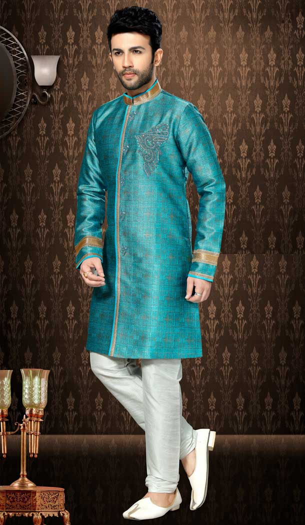 Rama and Off White Color Giccha Silk Ethnic Wear Mens Wedding Sherwani | FHKF13605783