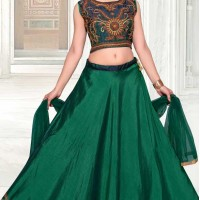 Green Color Net with Slub Silk based Designer Party Wear Lehenga Choli | FHKF13615802