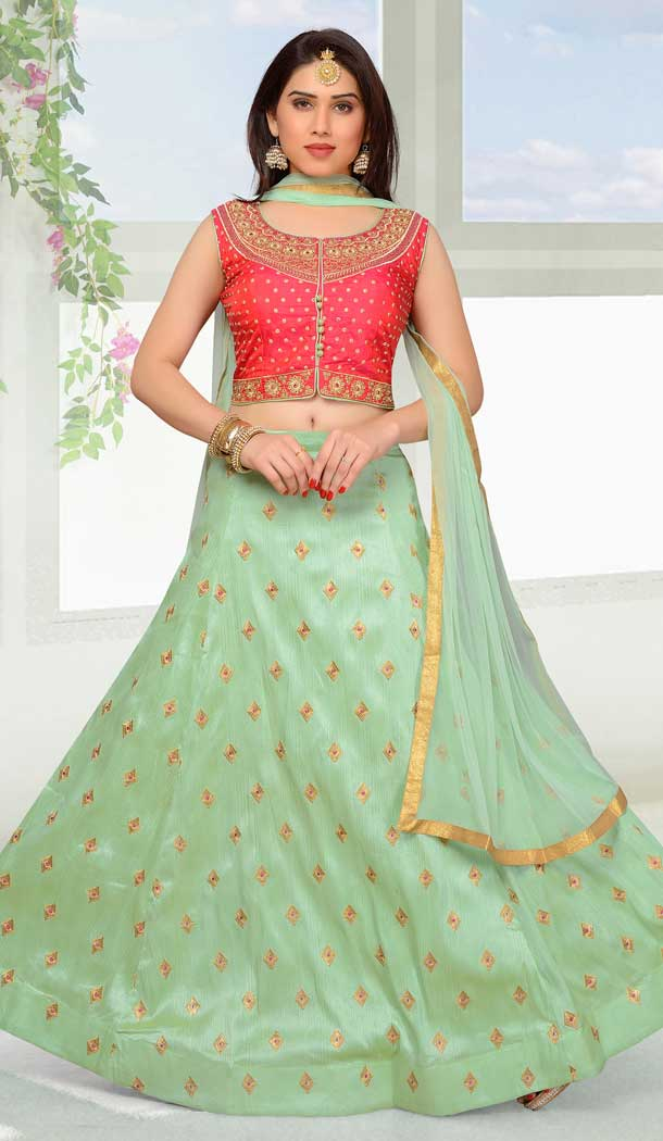 Pink and Light Green Color Net with Slub Silk based Designer Party Wear Lehenga Choli | FHKF13615814