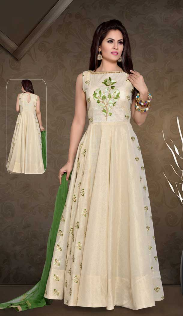 A Line Crystals Stones Work Cream Color Party Wear Cafan Silk | FHKF13625819