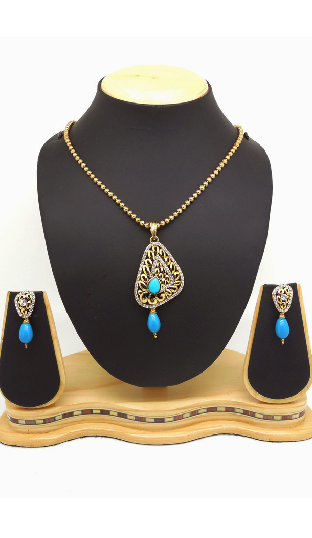 Women's Art Blue Color Fashion Jewellery Pendant Set