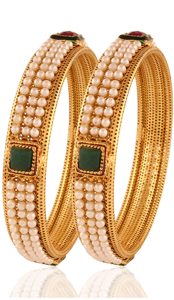 New Design Beige, Green and Gold Color Bangles For Women's | FH380462635