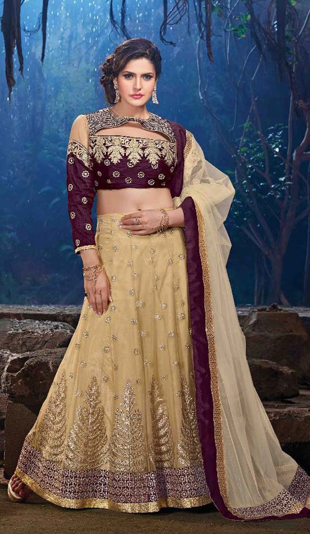 Net Fabric and Brown color Appealing A Line Style Bollywood Actress Zarine Khan Lehenga FH381762803