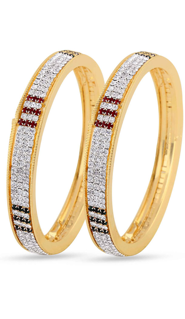 American Diamond Work Gorgeous Red, Silver and Gold Bangles | FH382862919