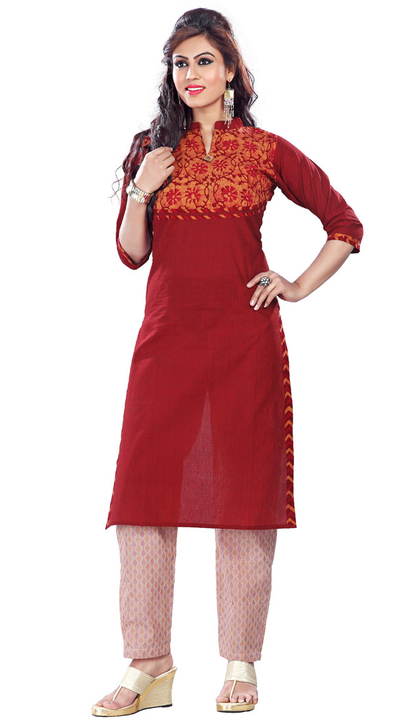 Maroon Color and Cotton Readymade Printed Kurtis | FH383963096