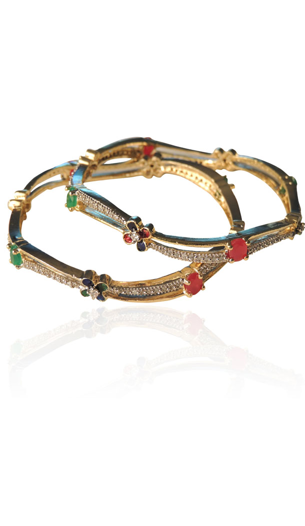 American Diamond Bangles in Red,Green and Silver Color | FH384263073