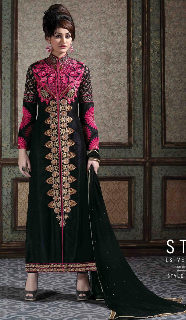 Angrakha Style Magenta Color Net Stitched Kameez with Narrow Pants | FH385263858