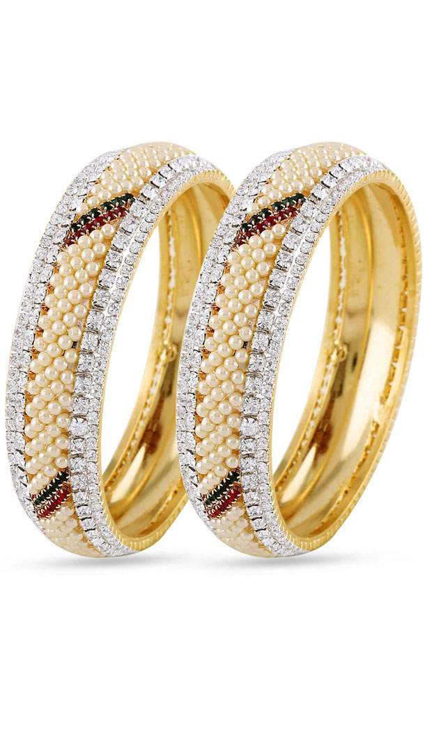 Red,Silver and Gold American Diamond Bangles For Women's | FH390964120