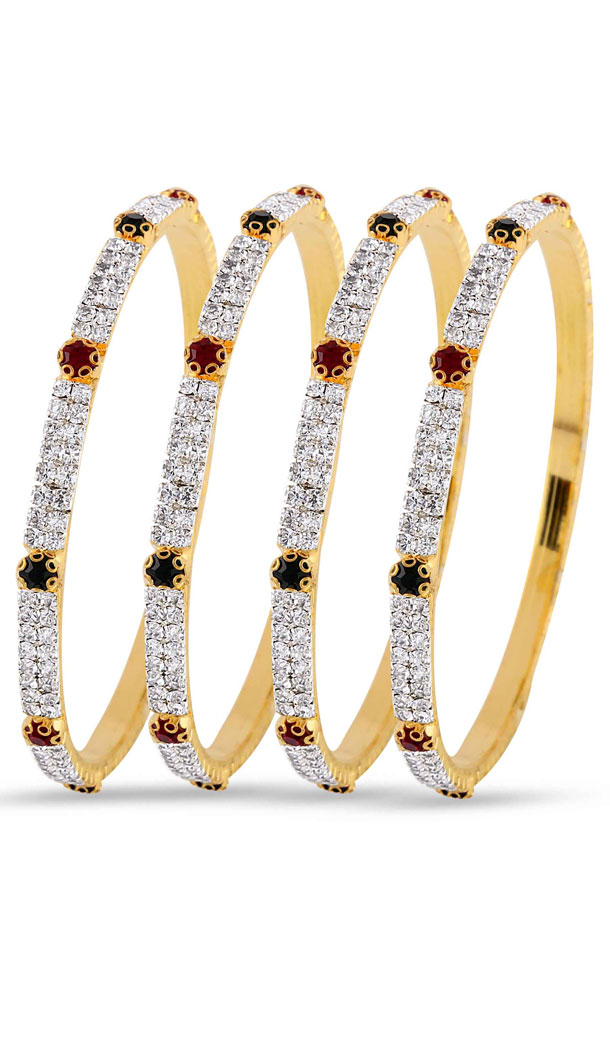 Red,Green,Silver and Gold American Diamond Bangles For Women's | FH390964121