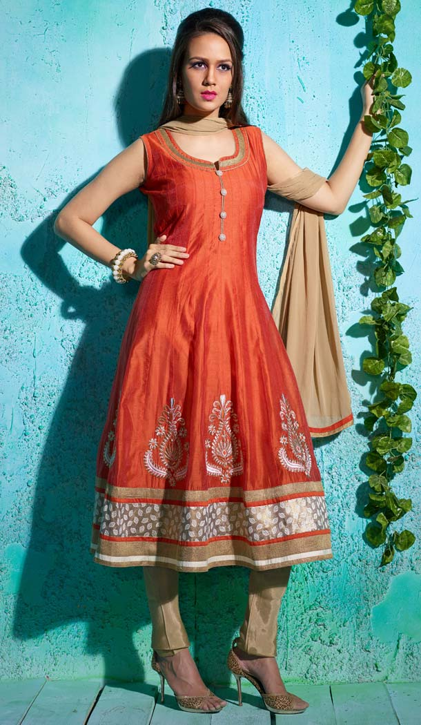 Embroidered Orange Color Chanderi Silk Anarkali Readymade Suits | FH401065122