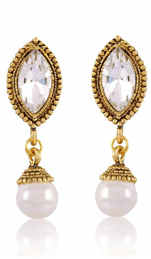 Grey and Gold Color Pearls Precious Earring | FH404965572