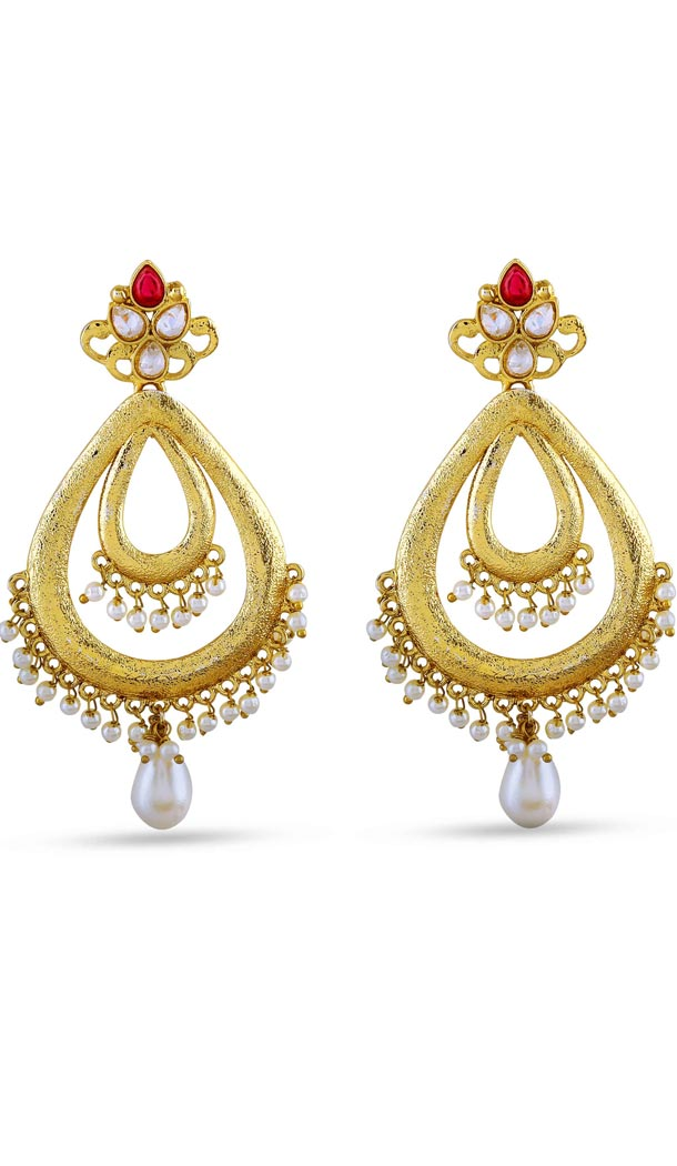 Red and Gold Color Pearls Precious Earring | FH404965574