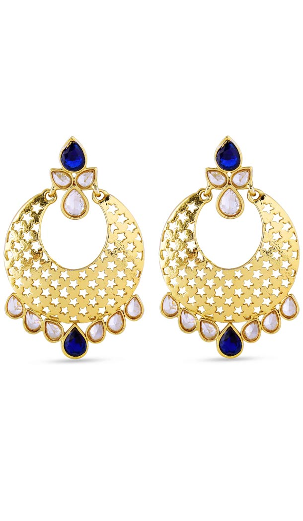 Blue and Gold Color Stone Artificial Jewellery Earring | FH405865626