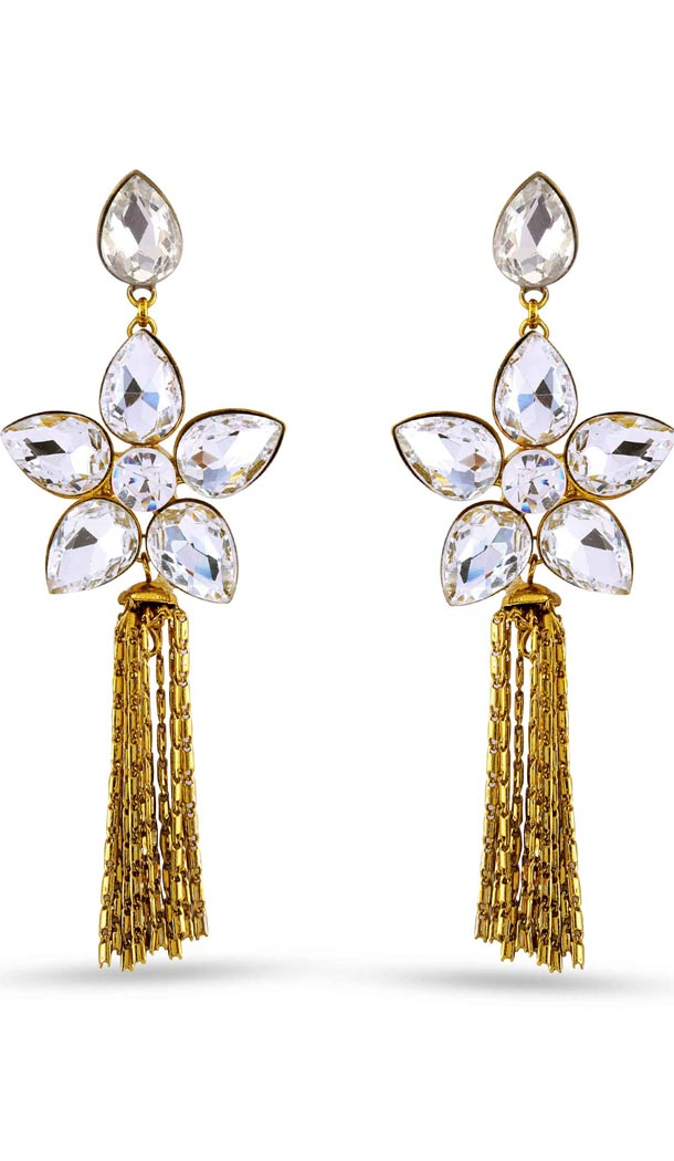 Beige and Gold Color Stone Artificial Jewellery Earring | FH405865628