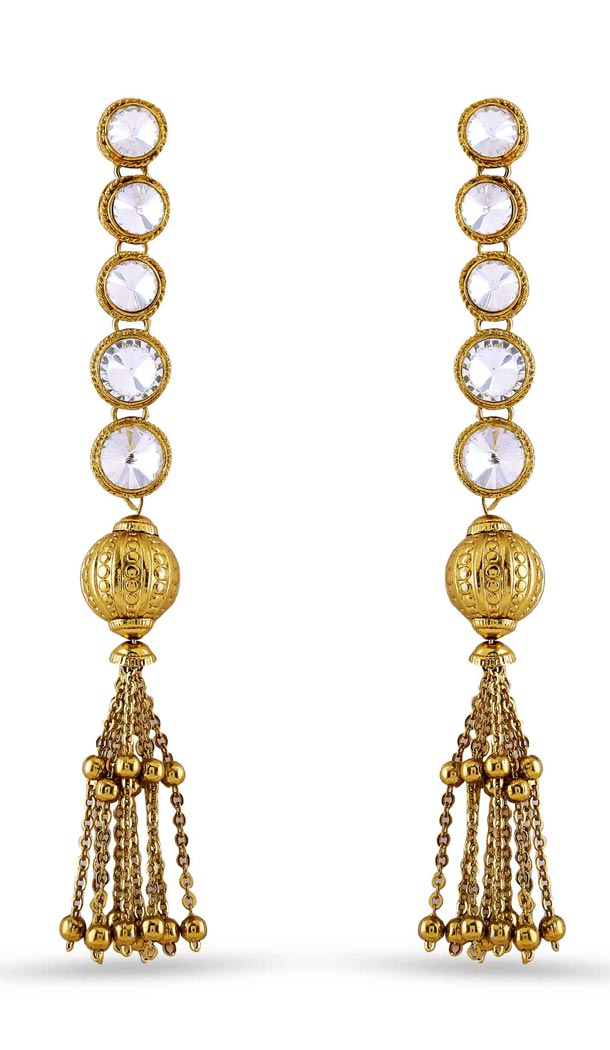 Beige and Gold Color Stone Artificial Jewellery Earring | FH405865629