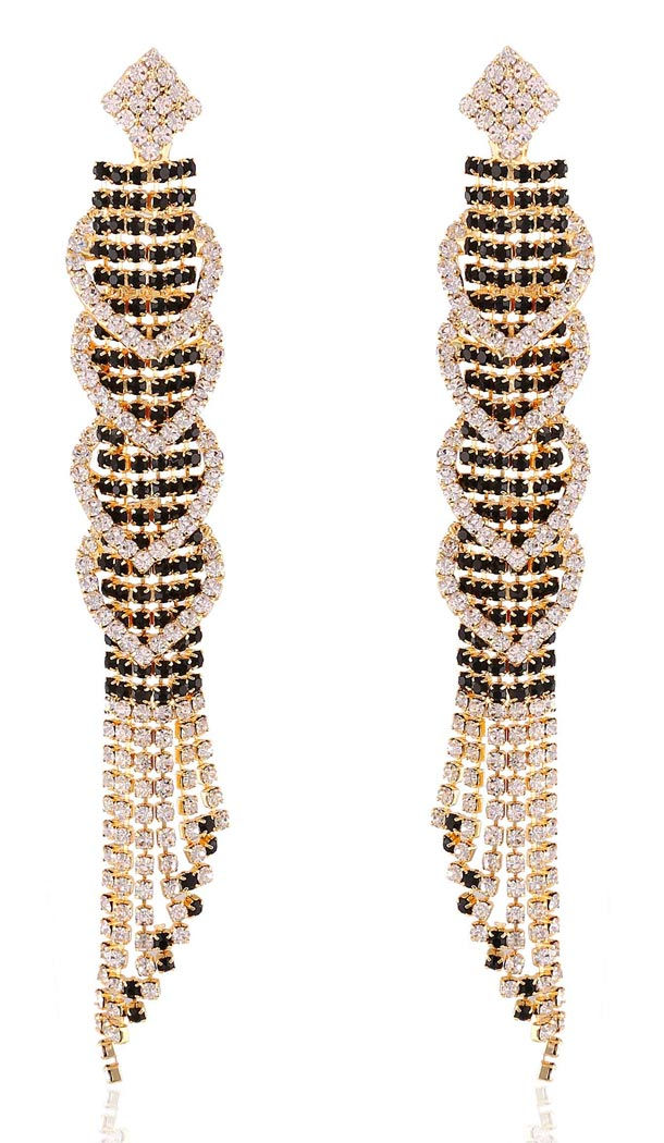Black Color American Diamond Artificial Jewellery Earring | FH405865632