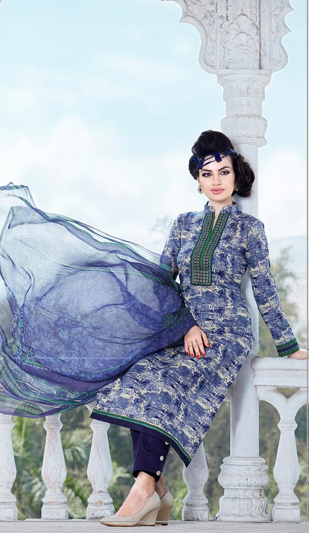 Cotton Navy Blue Color Printed Narrow Pants Kameez Online Shopping | FH407365746