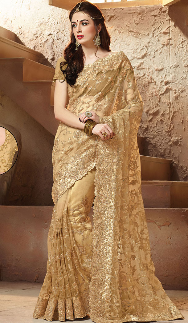 Tan Brown Color Net Designers Wedding Bridal Sarees with Stitched Blouse | FH418967131
