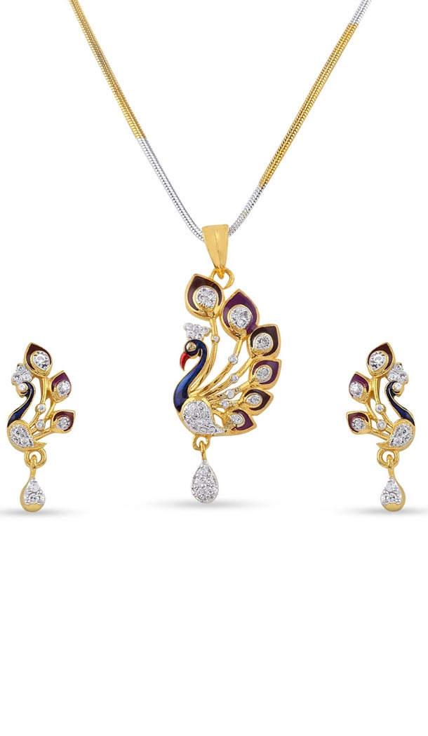 Gorgeous Silver and Gold American Diamond Jewellry Pendant Set | FH434769123