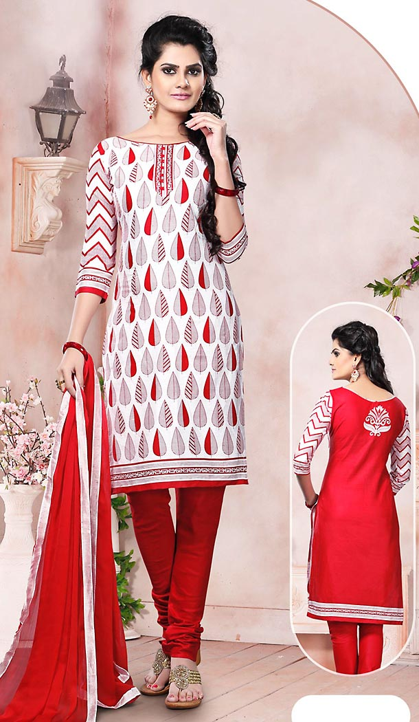 White and Red Color Cotton Fabric Stitched Churidar Suit with Dupatta | FH448470495
