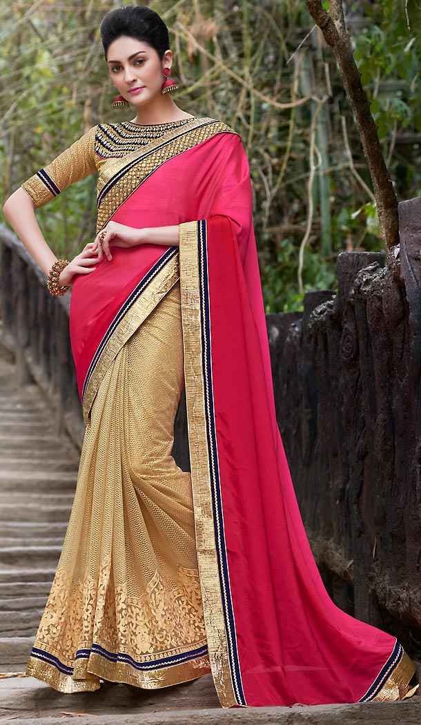 Tan Brown Color Chiffon Embroidered Party wear Sarees with Stitched Blouse | FH452870963