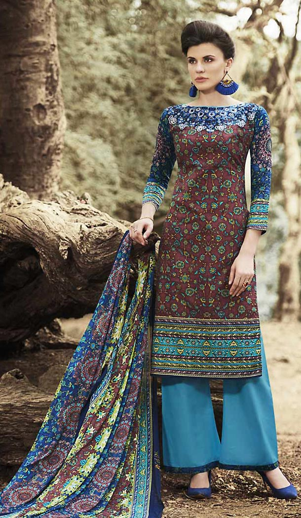 Maroon Color Simple Printed Cotton Stitched Palazzo Dresses‎ with Dupatta | FH456971508