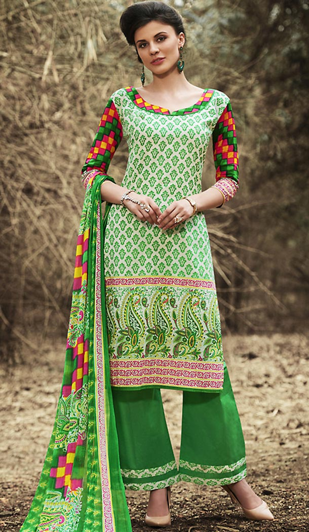 Off White Color Simple Printed Cotton Stitched Palazzo Dresses‎ with Dupatta | FH456971511