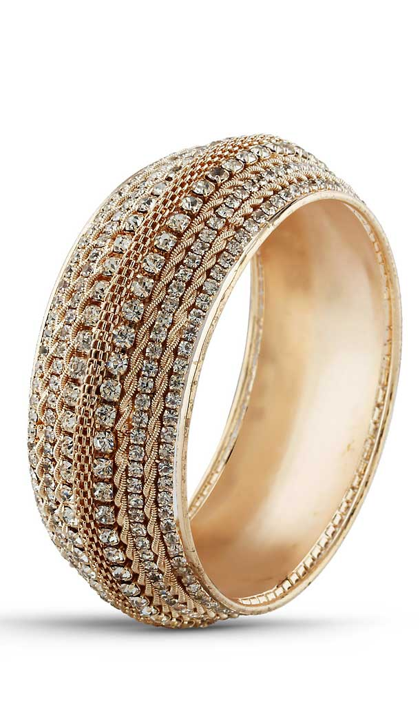 Brass Gold White Color American Diamond Work Traditional Bangles | FH507677367