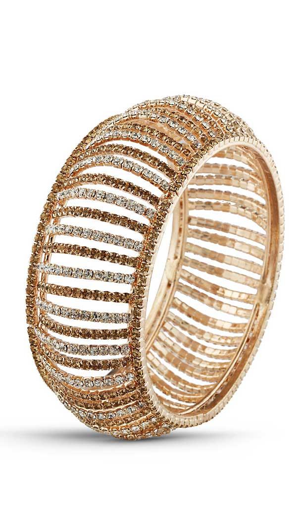 American Diamond Work Brass Gold White Color Traditional Bangles | FH507677368