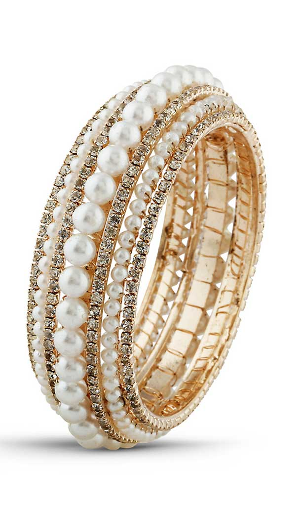Traditional American Diamond Work Brass Gold White Color Bangles | FH507677369