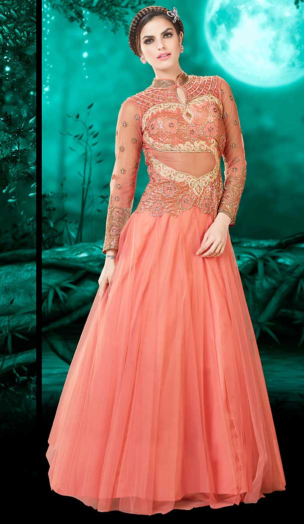 ee33aee8830e Salmon Color Net Embroidery Work Party Wear Style Gowns   FH509677636