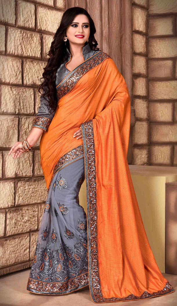 Orange Color Net Silk Fabric Casual Wear Saris Blouse | FH513578160