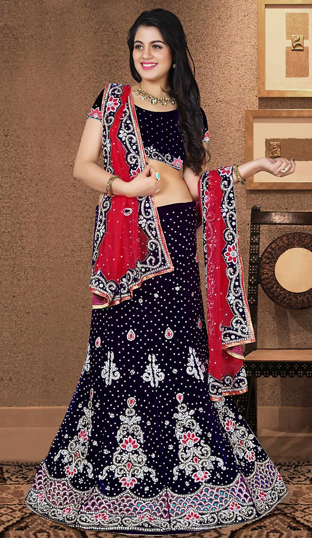 A Line Lehenga Wedding Lehenga Choli in Navy Blue Color Velvet | FH515678426