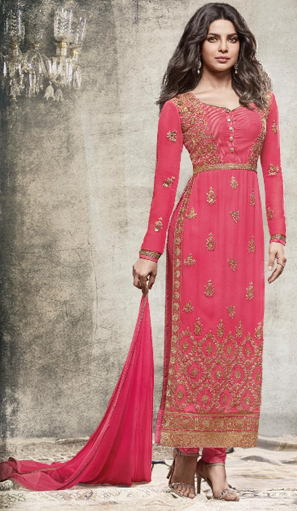 Bollywood Celebrity Priyanka Chopra Salwar Kameez in Deep Pink Color | FH518478768