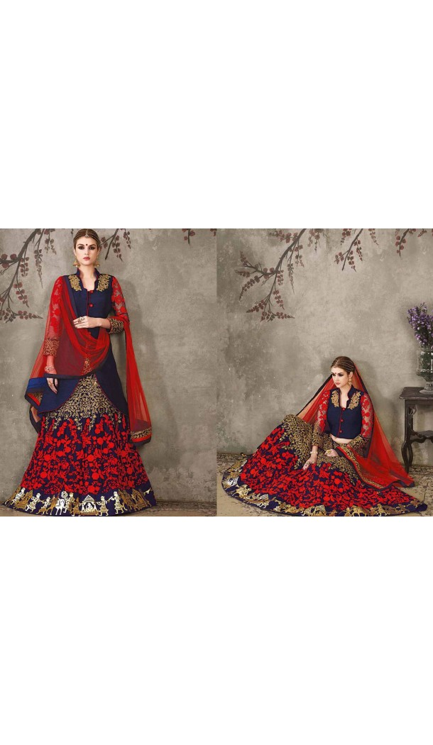 Pure Silk Navy Blue Color Sangeet Mehndi Wear Lehenga Choli | FH521879144