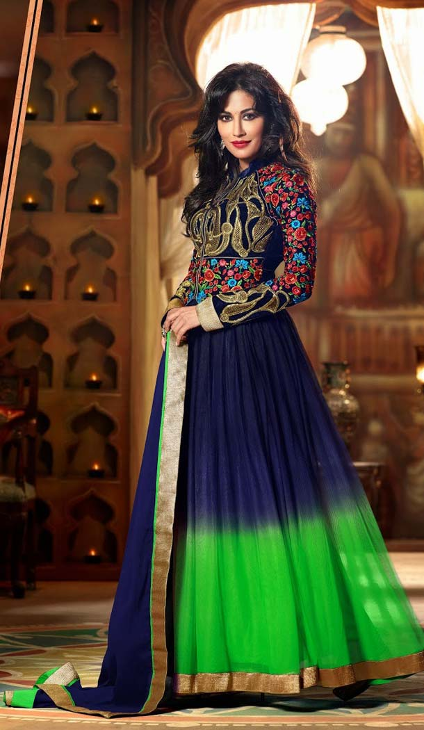 Shaded Blue and Neon Green Net Abaya Style Churidar Kameez with Jacket
