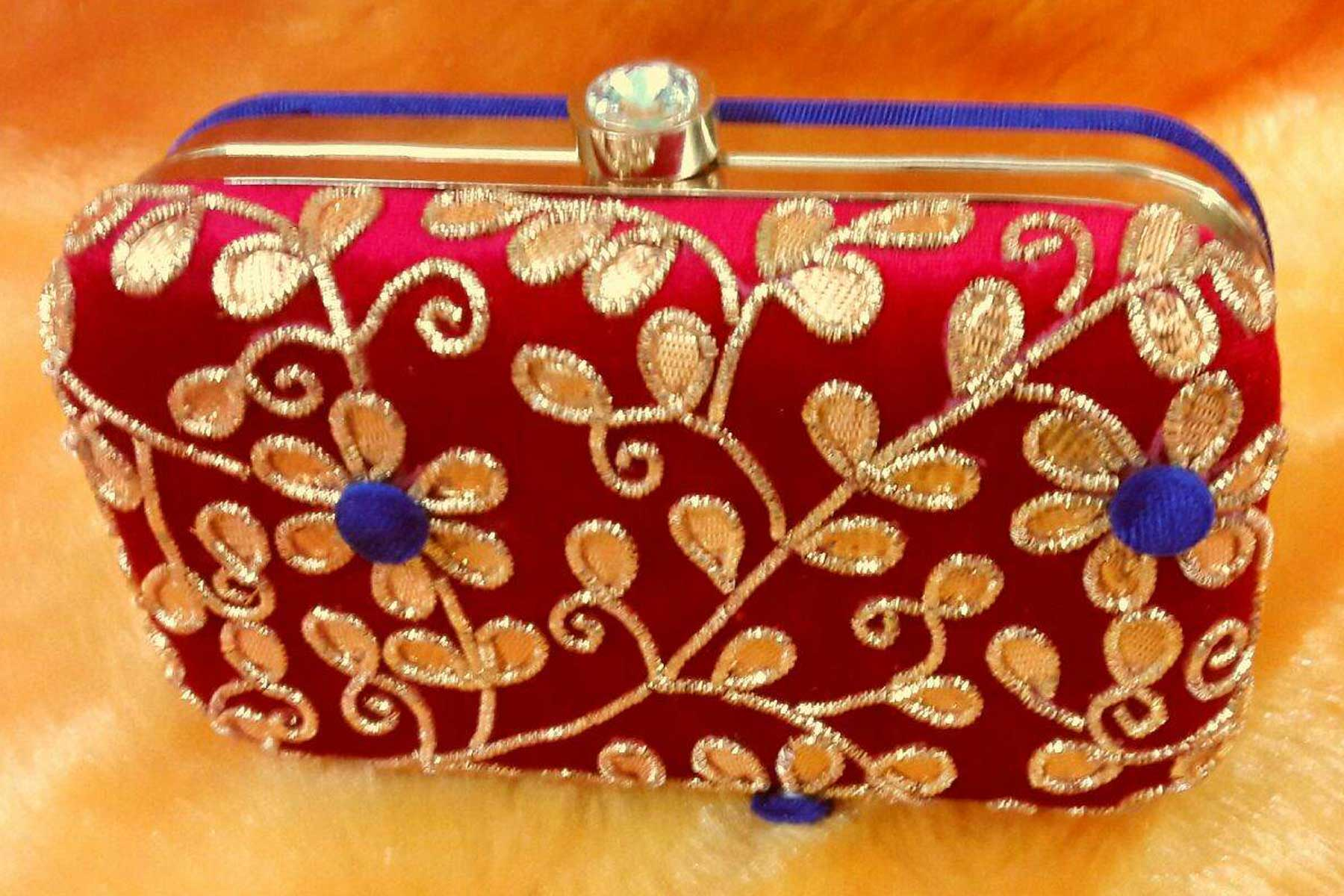Red Color Hand Embroidery Clutch Bags Online | FH10341391