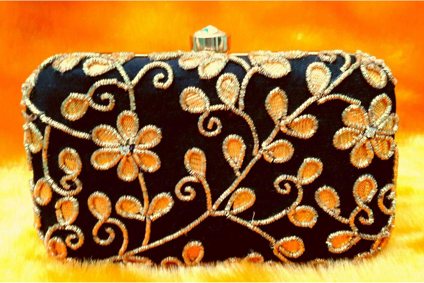 Black Color Hand Embroidery Clutch Bags Online | FH10341392