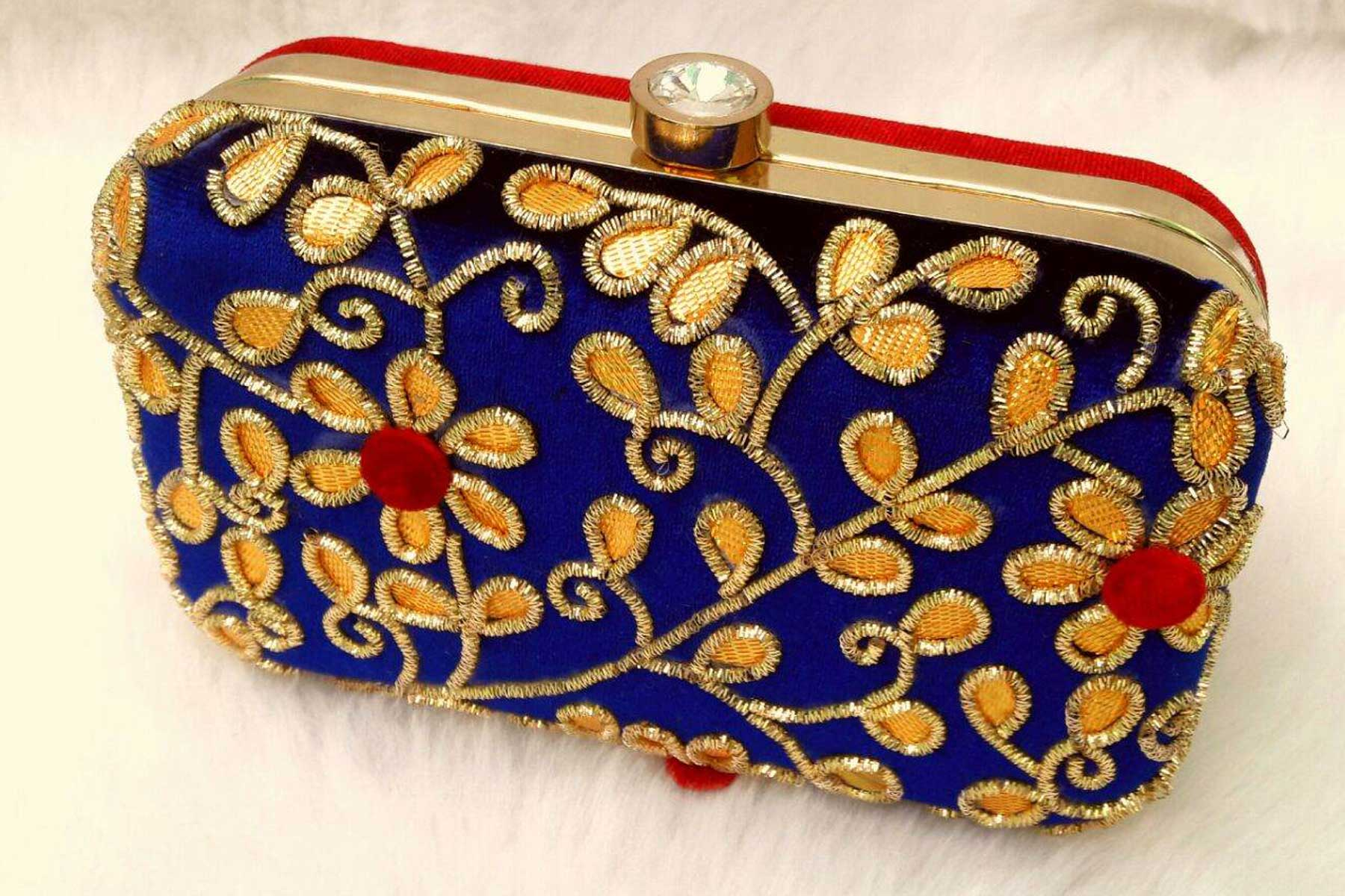 3cb6afa9769 Fashion Clutch Bags in Blue Color with Hand Embroidery Online | FH10341398