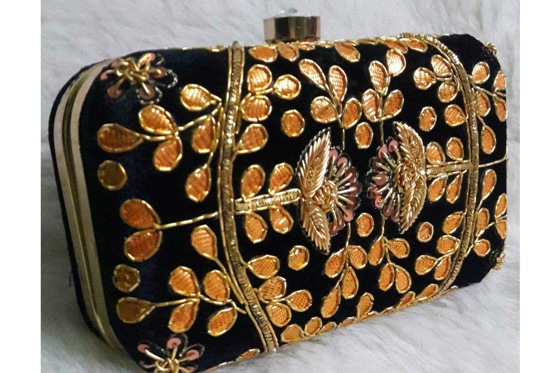 Women's Fashion Black Color Embroidery Work Clutch Purse | FH10351401