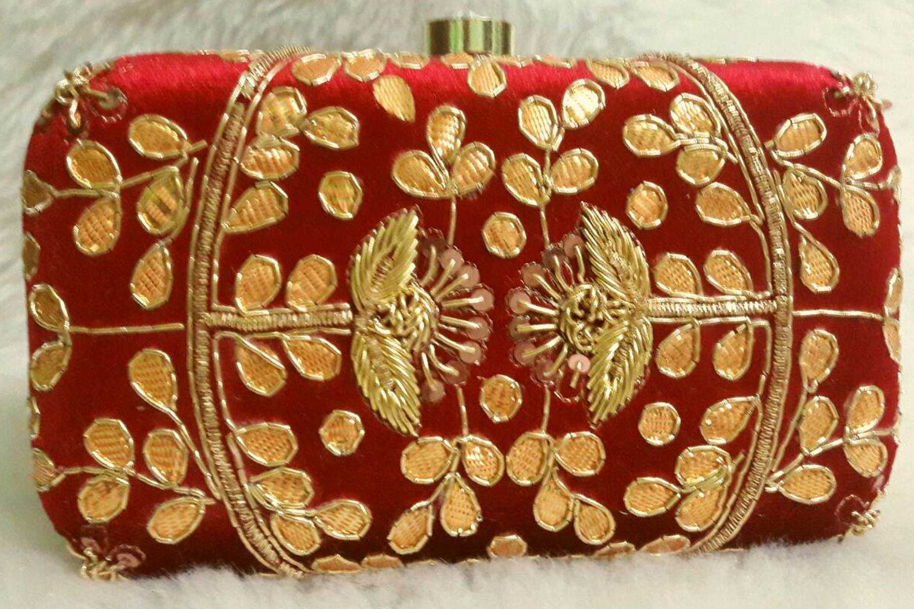 Embroidery Work Red Color Women's Fashion Clutch Purse | FH10351405