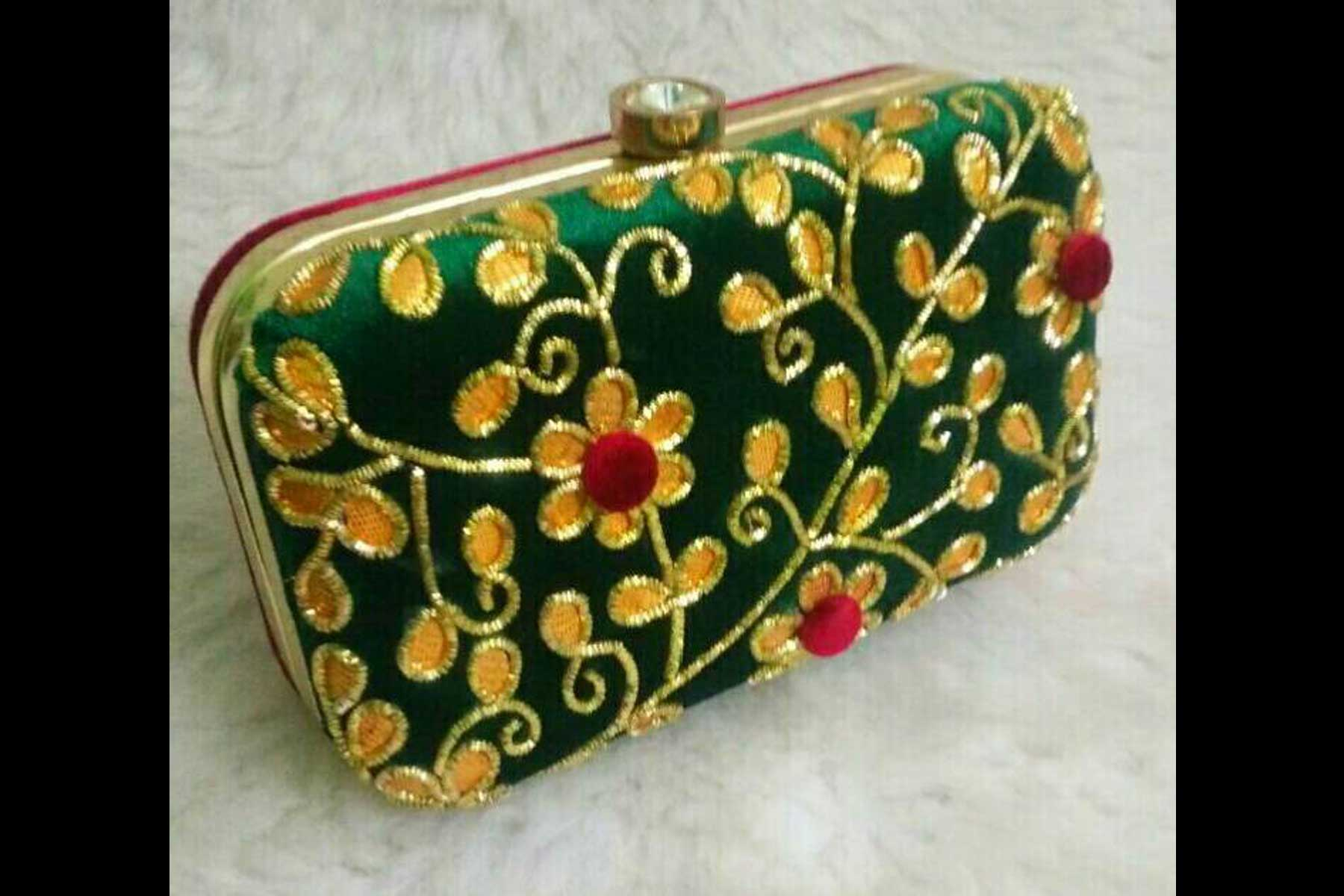 Women's Embroidery Work Green Color Fashion Clutch Purse | FH10351407