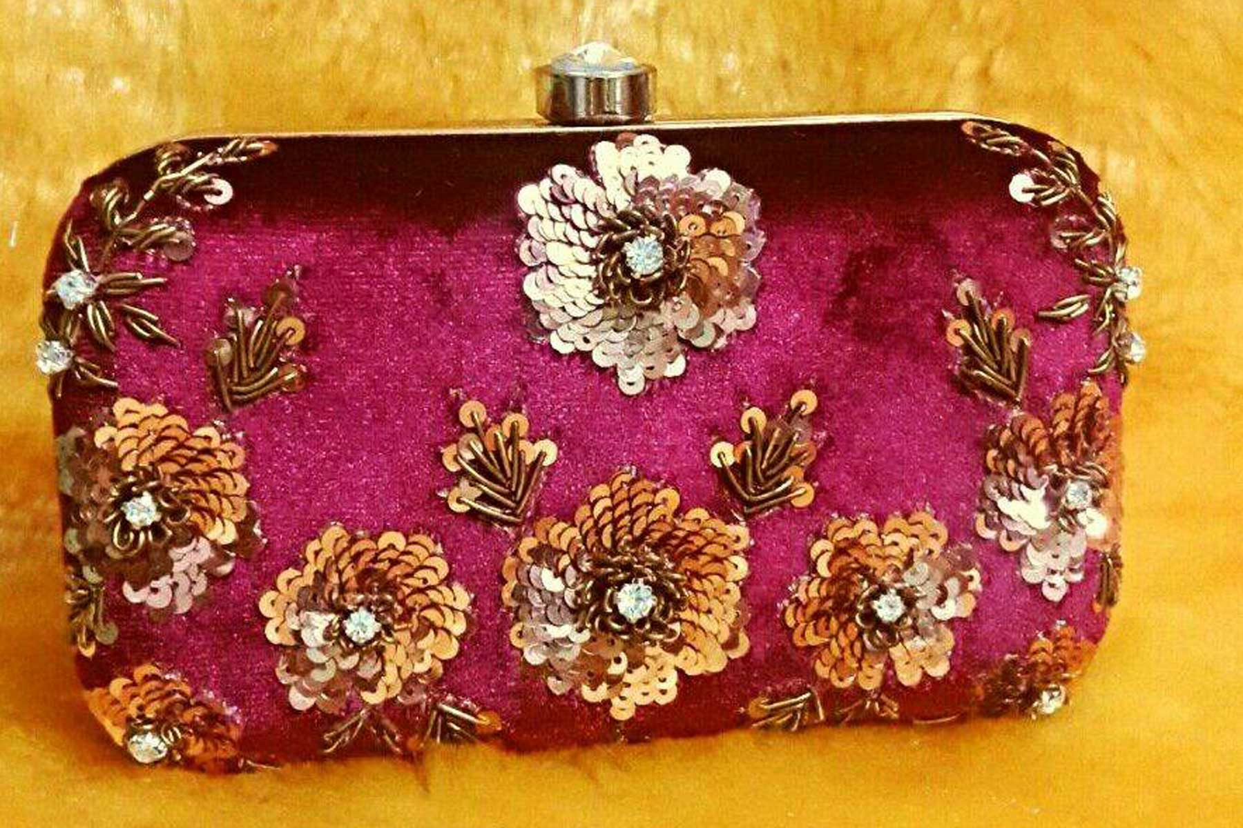 Women's Embroidery Work Pink Color Fashion Clutch Purse | FH10351409