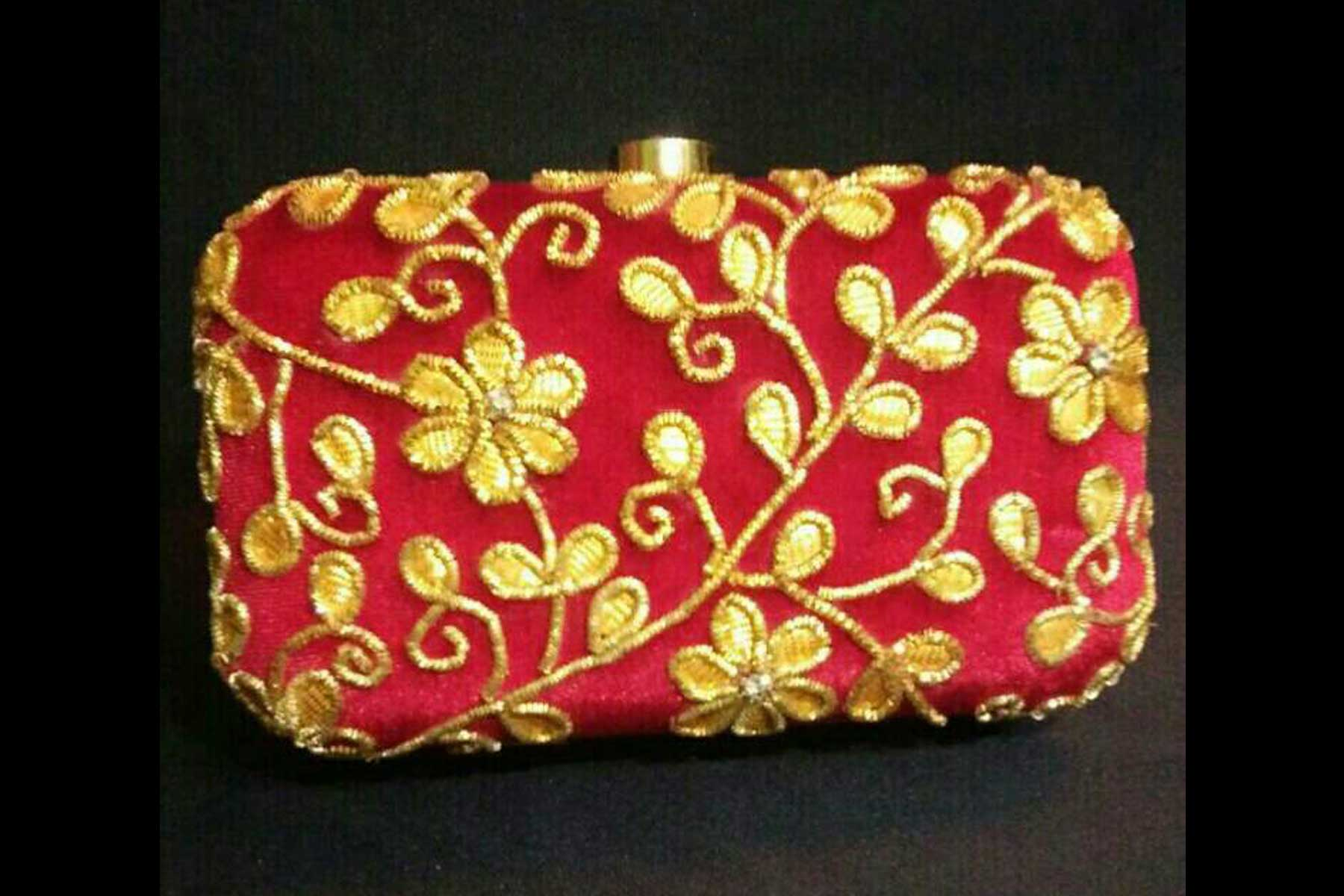 Women's Red Color Fashion Embroidery Work Clutch Purse | FH10351410