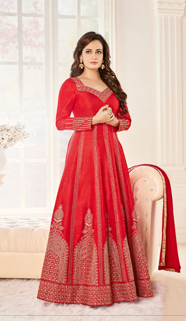 Celebrity Dia Mirza Red Color Georgette Anarkali Style Churidar Kameez | FH560683578