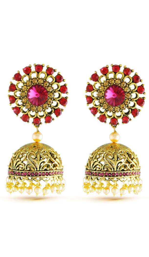 Beautiful Gold Artificial Jewellery Jhumki Earring | FH573885044