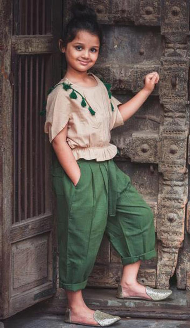 Beige and Green Khadi Work Western Clothe For Girls | FH607488494