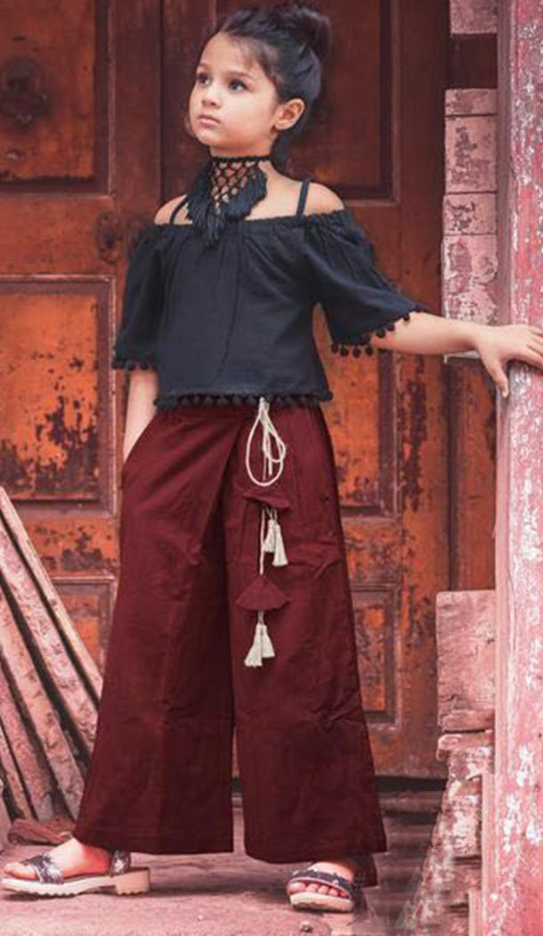 Black and Maroon Khadi Work Western Clothe For Girls | FH607488500