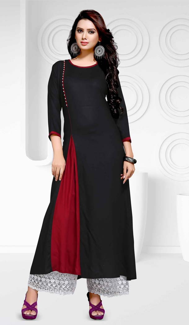 Black Color Party Wear Readymade Cotton Kurti in A-line Style | FH609988778
