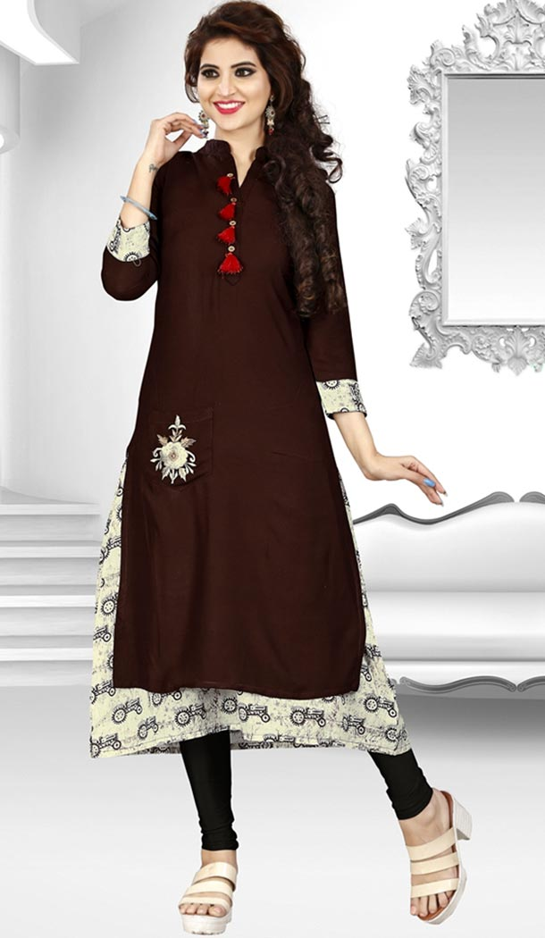 Brown Color Rayon Party Wear Style Readymade Kurti | FHKF735469970